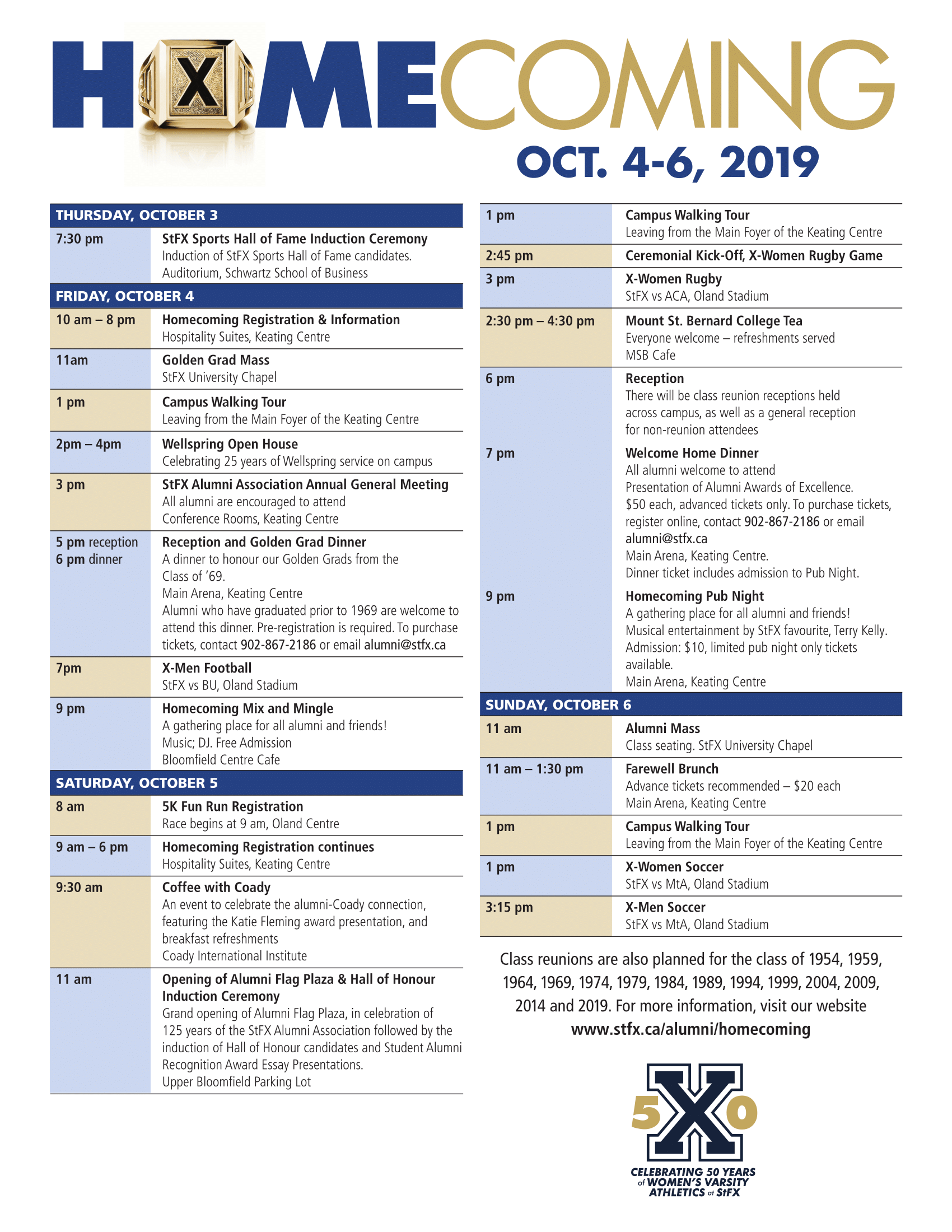 StFX Homecoming 2019 Schedule