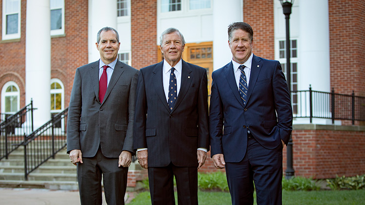 Chancellor John Peacock, Mike Boyd and Kent MacDonald